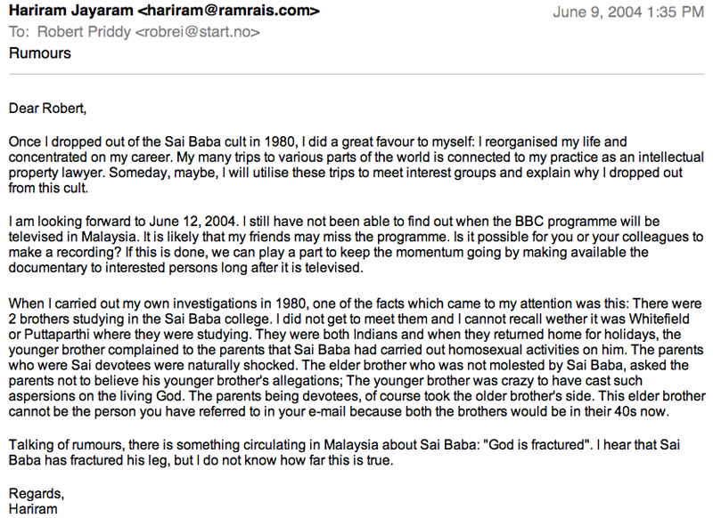 Malaysian Sathya Sai Organisation & Sex Abuses by Sai Baba